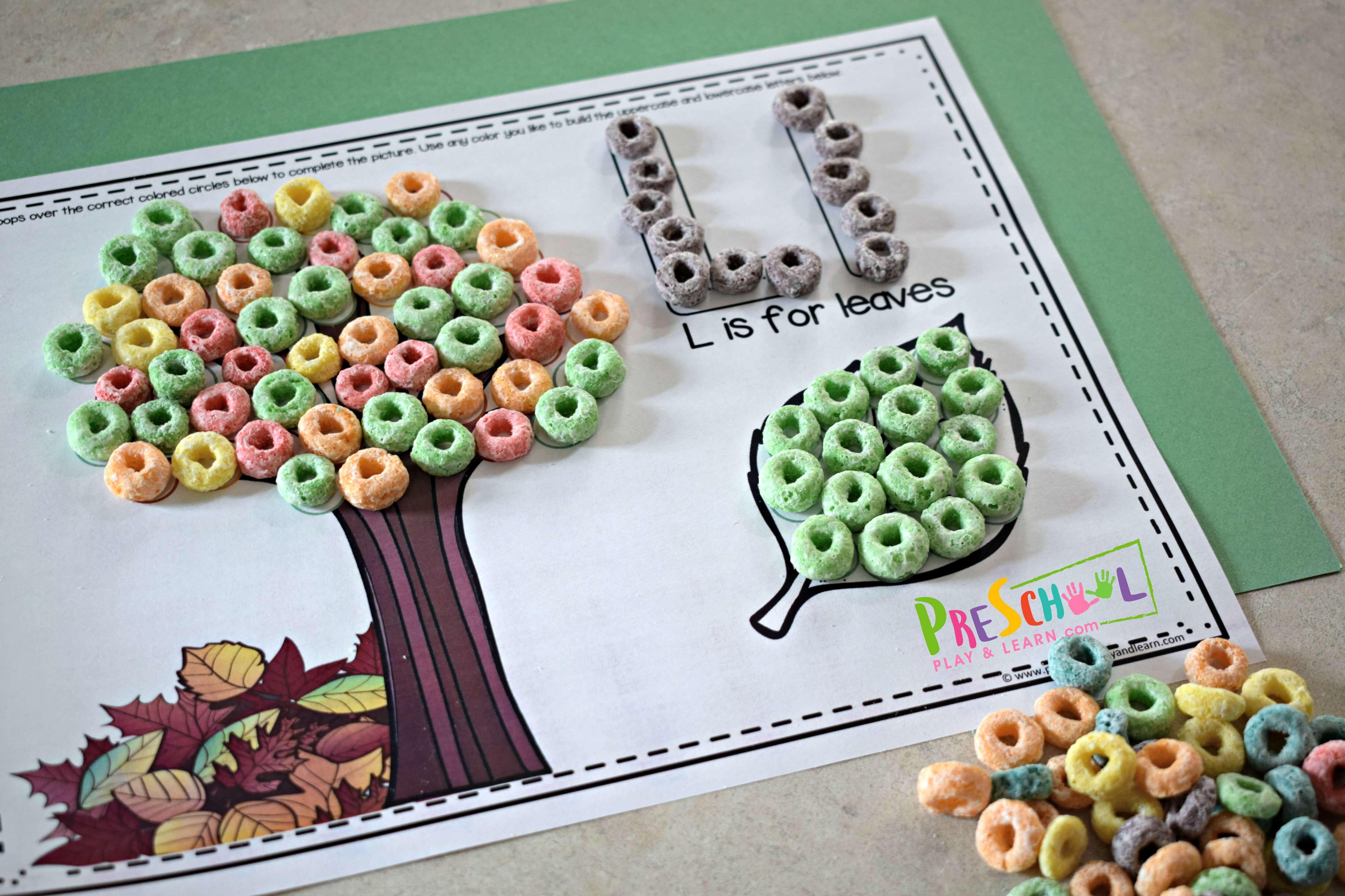 Free Fruit Loop Alphabet Snack Mats
