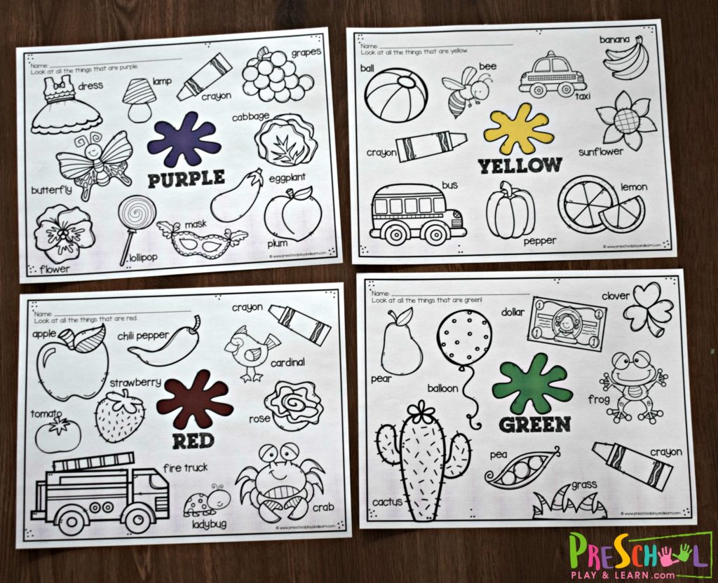 Free Learning Colors Worksheets