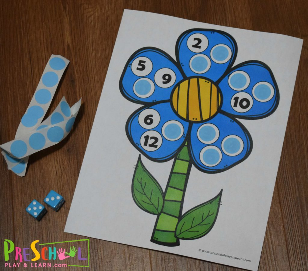 Free Flower Preschool Counting Game