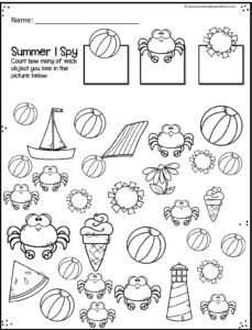 FREE Preschool Summer Math Worksheets