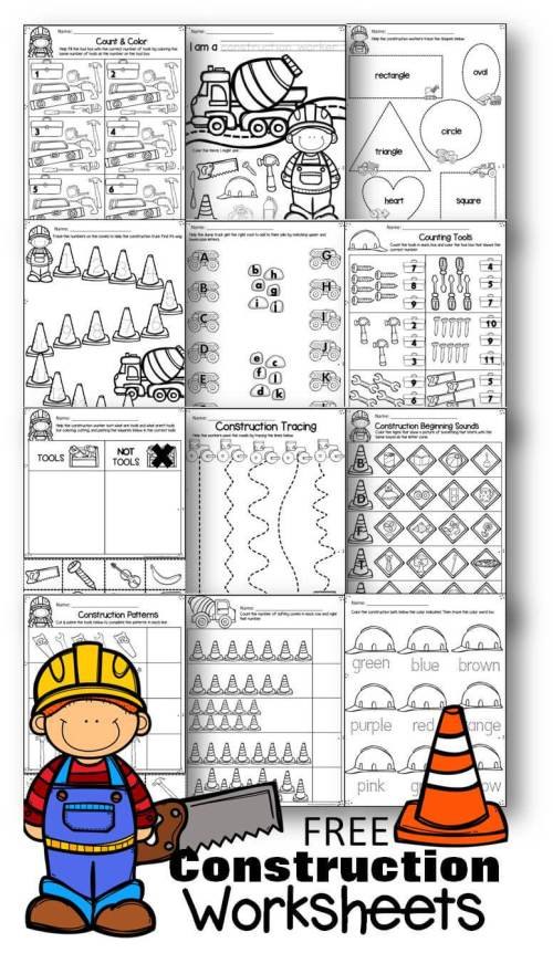 small resolution of FREE Preschool Construction Theme Printable Worksheets