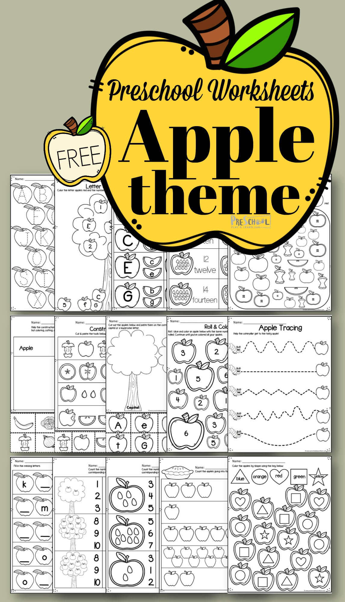 Apple Worksheet Preschool Pack