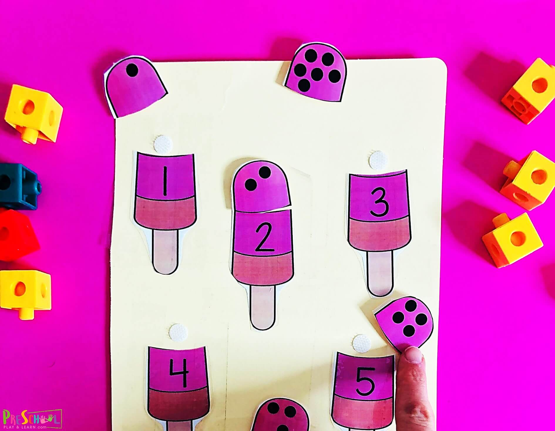 Popsicle Counting Puzzles Match