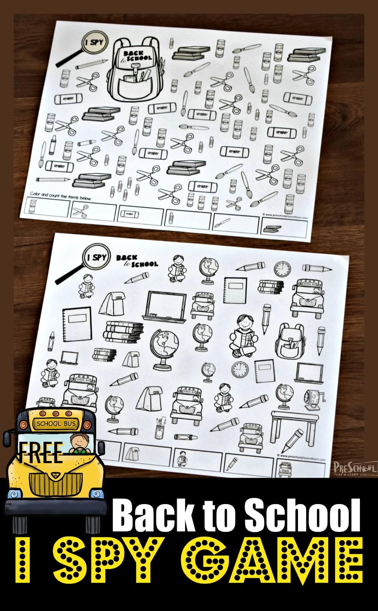 Free I Spy Back To School Printable