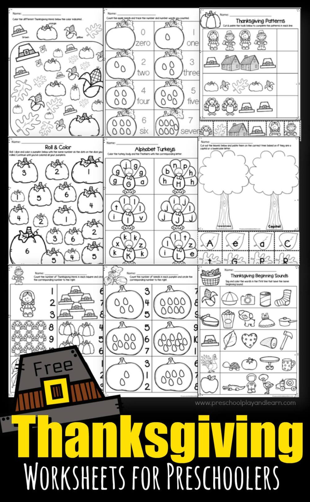 medium resolution of Thanksgiving Worksheets for Preschoolers
