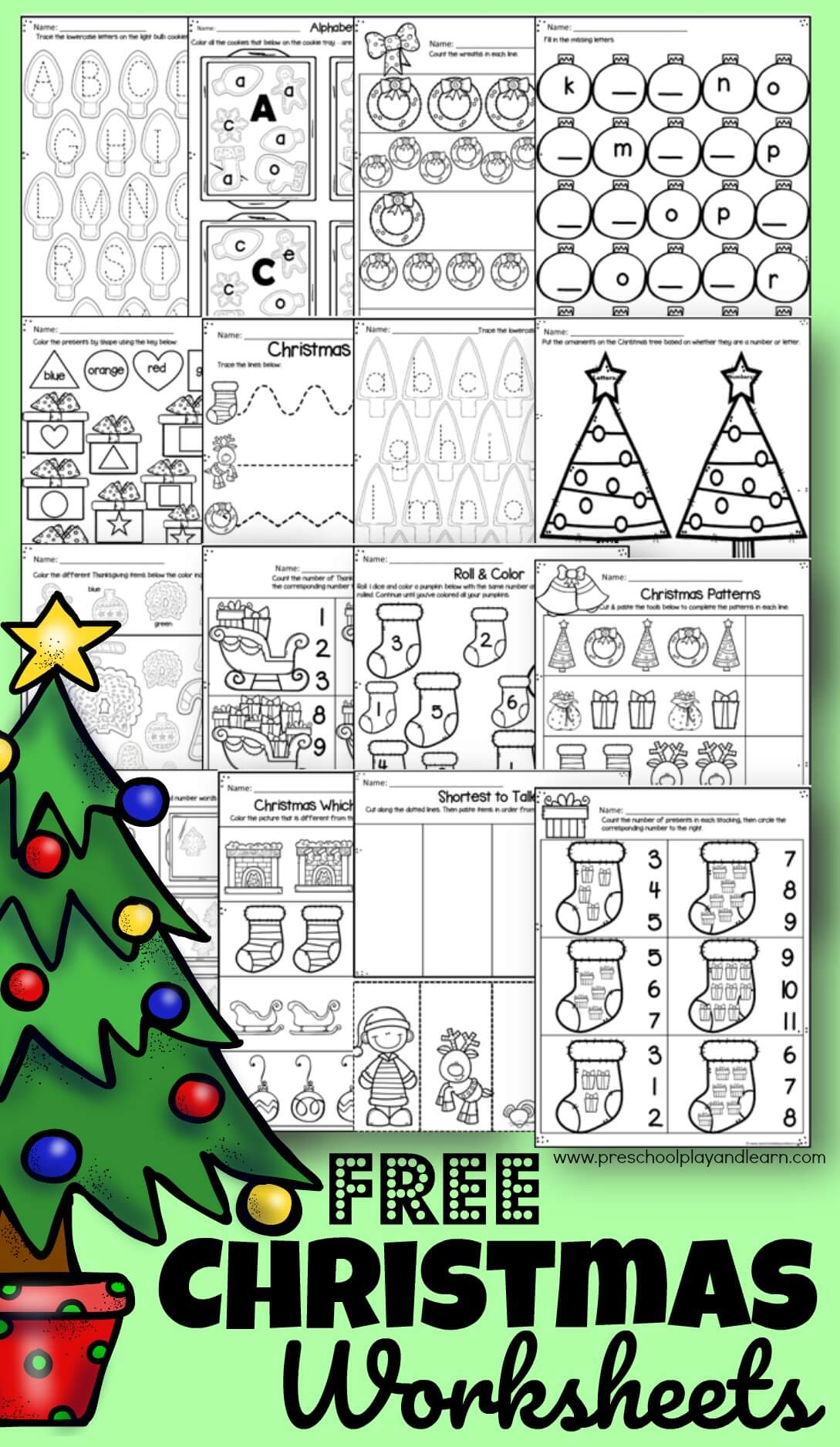 Free Christmas Worksheets For Preschool