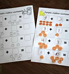 Pumpkin Addition Worksheets for Preschoolers [ 1632 x 2449 Pixel ]
