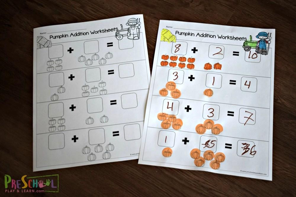 medium resolution of Pumpkin Addition Worksheets for Preschoolers