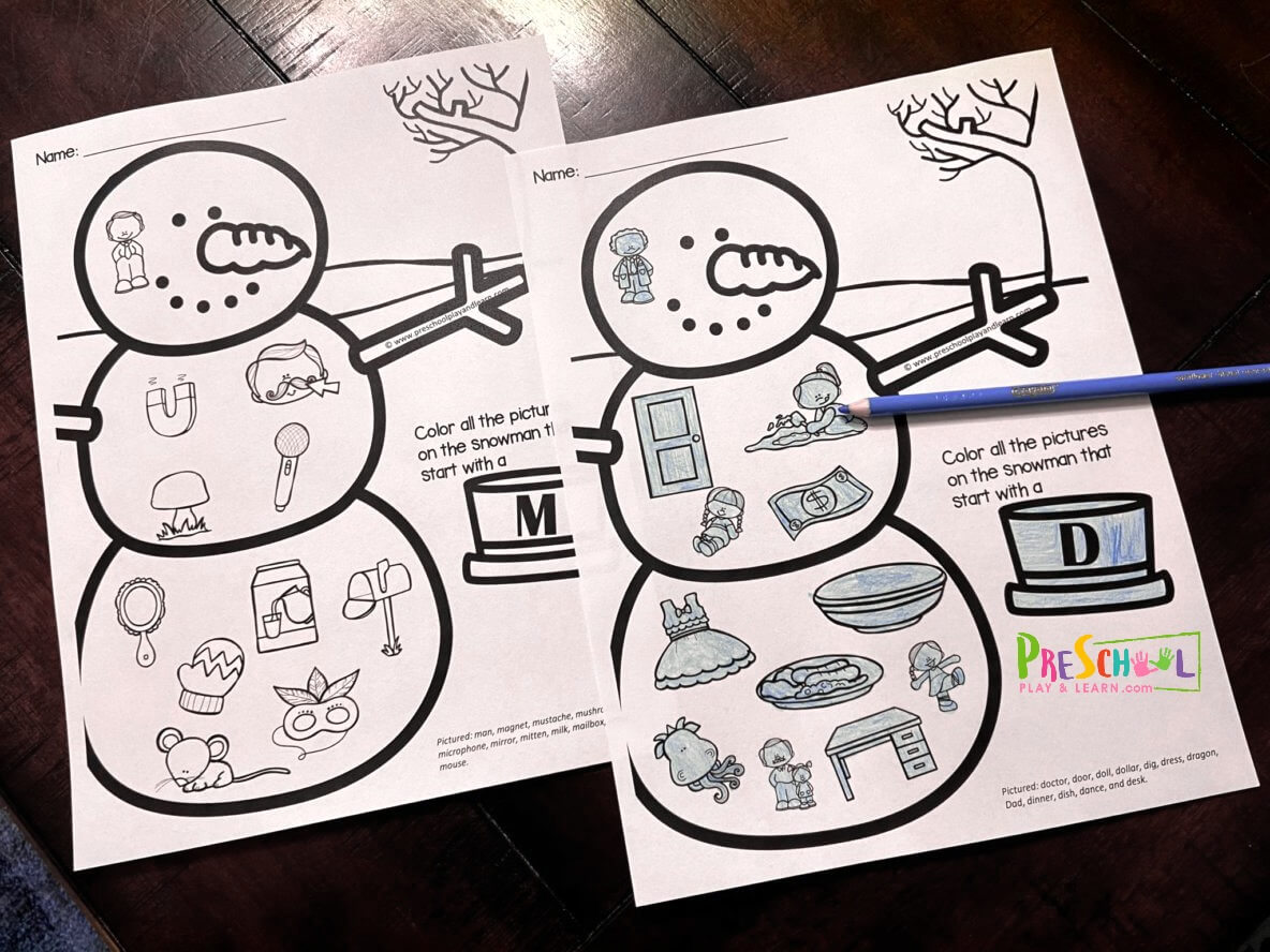 Free Initial Sounds Snowman Coloring Pages