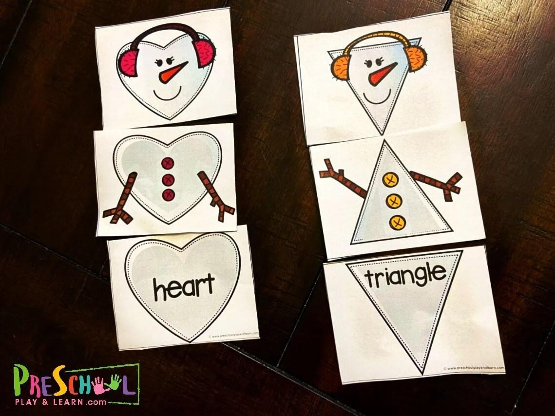 Free Snowman Printable Shape Puzzles