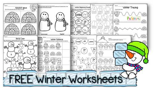 small resolution of FREE Winter Worksheets for Preschoolers