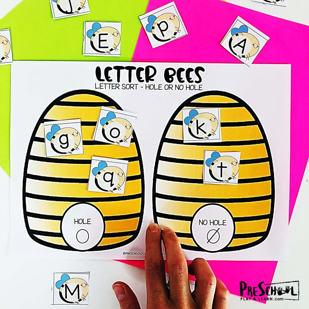 Letter Bees Visual Discrimination Activities