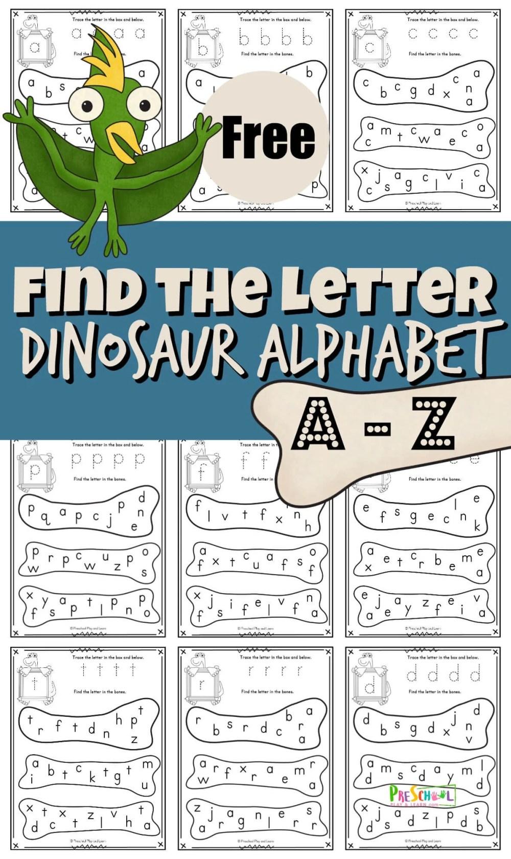 medium resolution of FREE Find the Letter Dinosaur Alphabet Fun