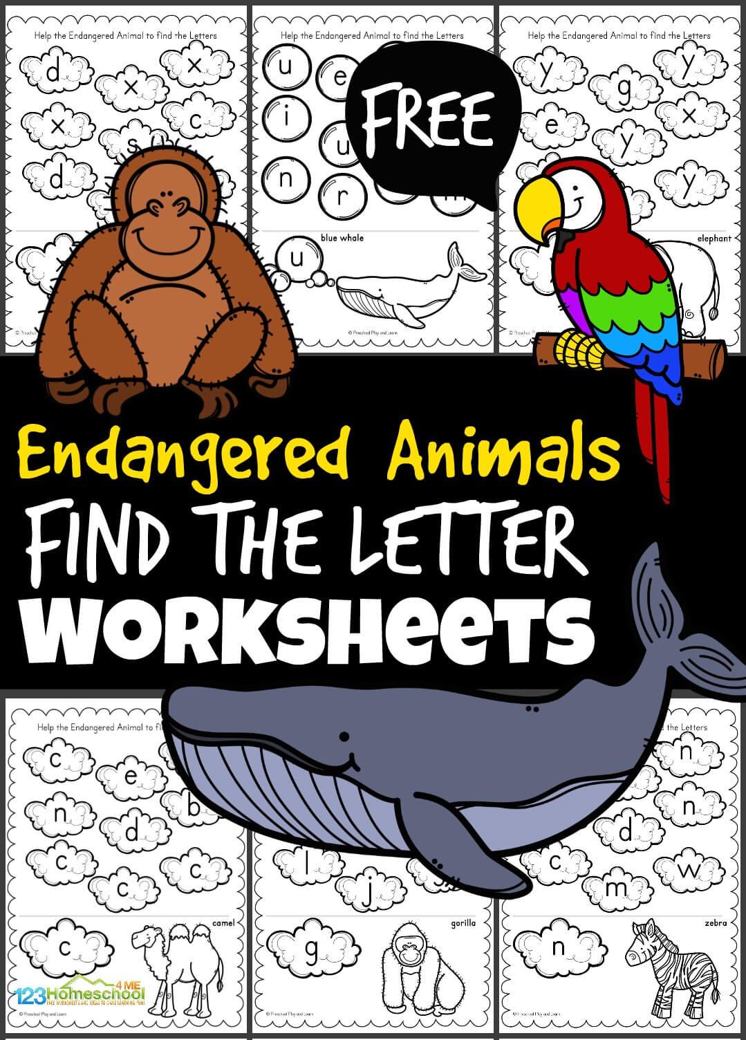 Free Endangered Animals Find The Letter Worksheets