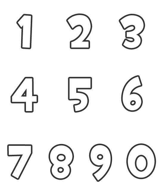 Free number 0 cut out coloring pages