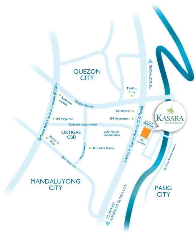 The Kasara Pasig Location Map