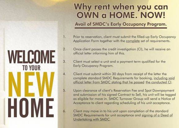 SMDC Early Occupancy Rent to Own Program
