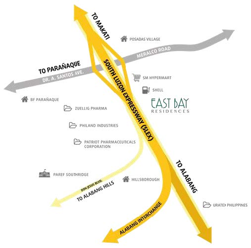 East Bay Residences Location and Vicinity in Sucat