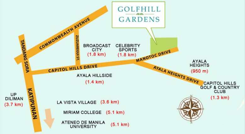 Golfhill Gardens Location and Vicinity
