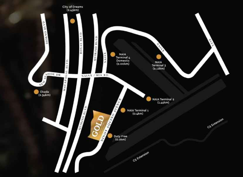 Gold Residences Location and Vicinity - condo by SMDC near NAIA airport