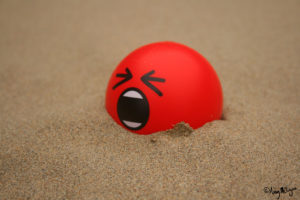 Pelota gritando semienterrada en arena