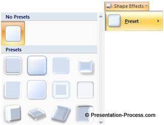 Preset shape effect menu