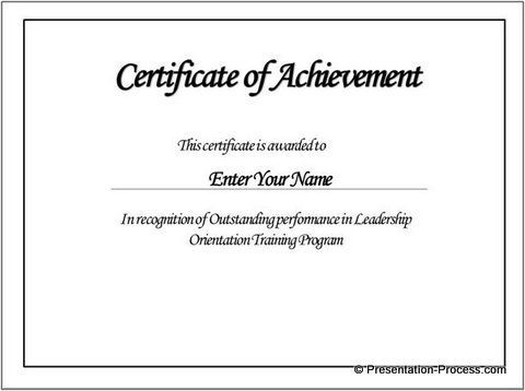 Certificate of Achievement with Text
