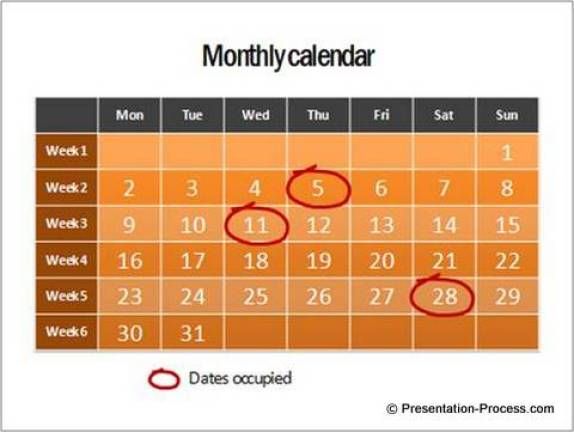 PowerPoint Calendar showing time