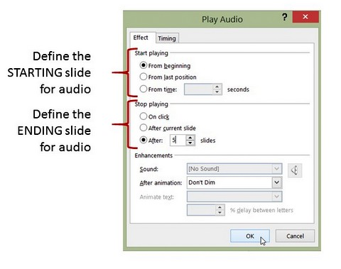 Start and End Slides for Audio Playback