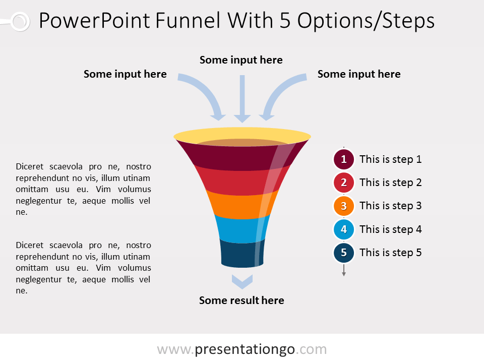 Powerpoint Funnel Diagram With 5 Steps