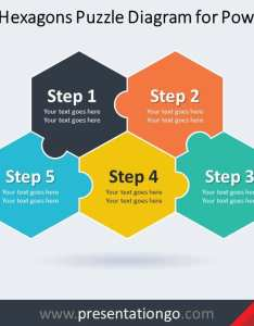 step hexagons puzzle diagram for powerpoint also free flow chart templates presentationgo rh