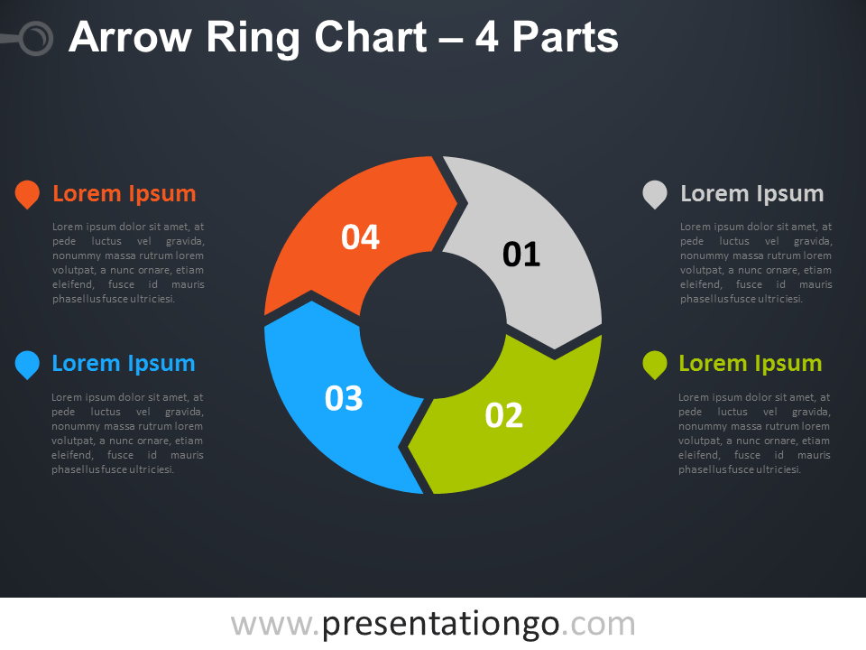 4 circle venn diagram template 1974 bmw 2002 wiring 4-parts arrow ring powerpoint chart - presentationgo.com