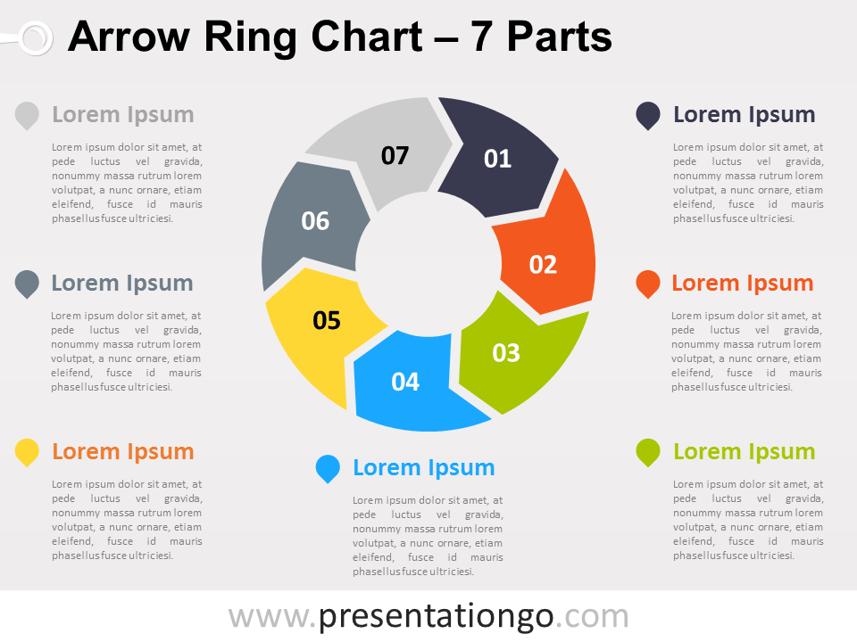 venn diagram template with lines 1997 subaru outback radio wiring 7-parts arrow ring powerpoint chart - presentationgo.com