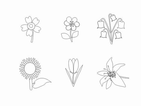 Flower Outlines Clip Art