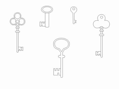 Key Outline Clip Art