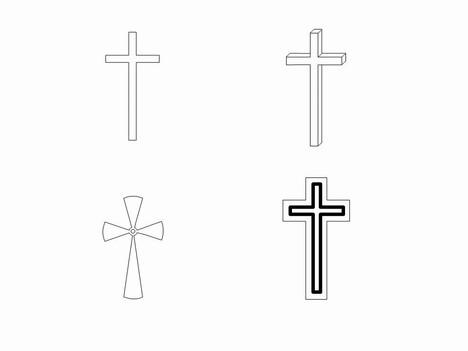 Cross Outlines Clip Art