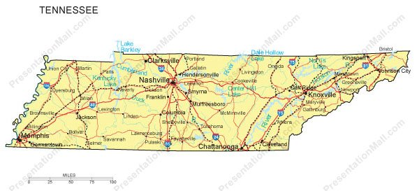 Tennessee Map Major Cities Roads Railroads Waterways