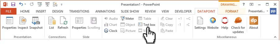 click text box in datapoint menu to set text box properties