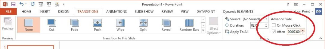 set each slide to advance automatically in the slide show