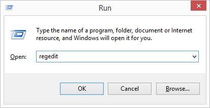 start the registry editor like so