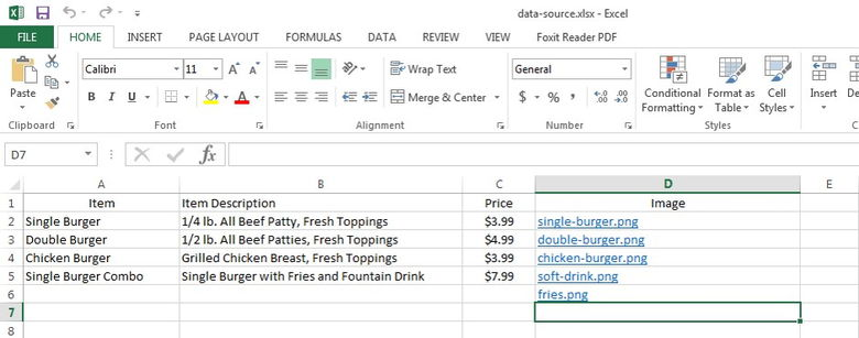 maintain the data and content of your menu board in excel