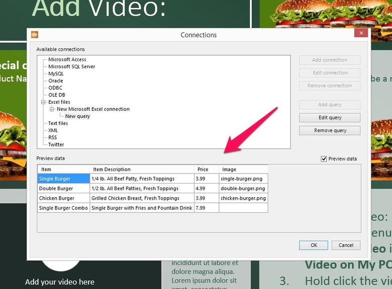 preview of your digital menu board data and menus