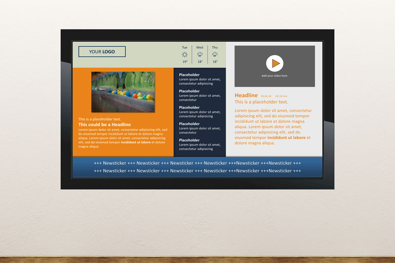 Free digital signage powerpoint template To display news headlines and banners