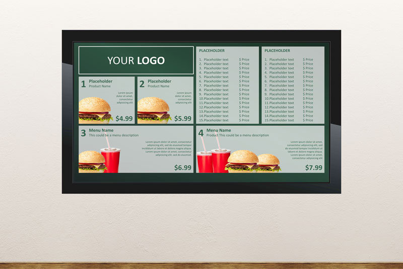 Free digital signage powerpoint template to show digital menu board with menus and promotions ideal for take away restaurants