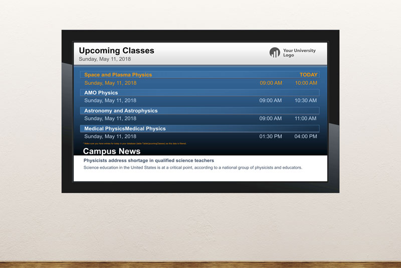 Free digital signage powerpoint template for schools and universities information screens