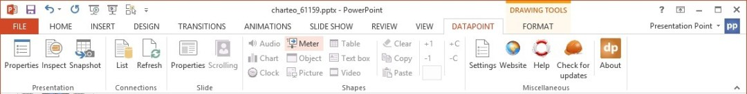 open dynamic dashboard or meter options in powerpoint menu