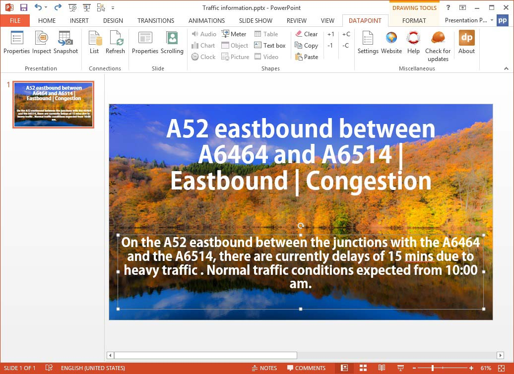 slide displaying traffic information with title and description