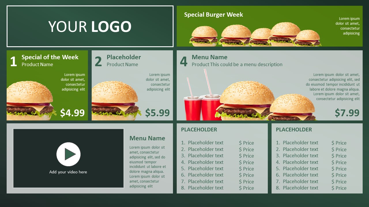 fastfood restaurant or take away pricelist powerpoint template presentationpnt. Black Bedroom Furniture Sets. Home Design Ideas