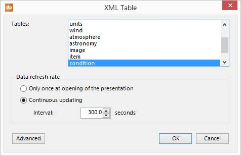 add a xml data table to your connections