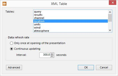 select the location table from the xml raw data